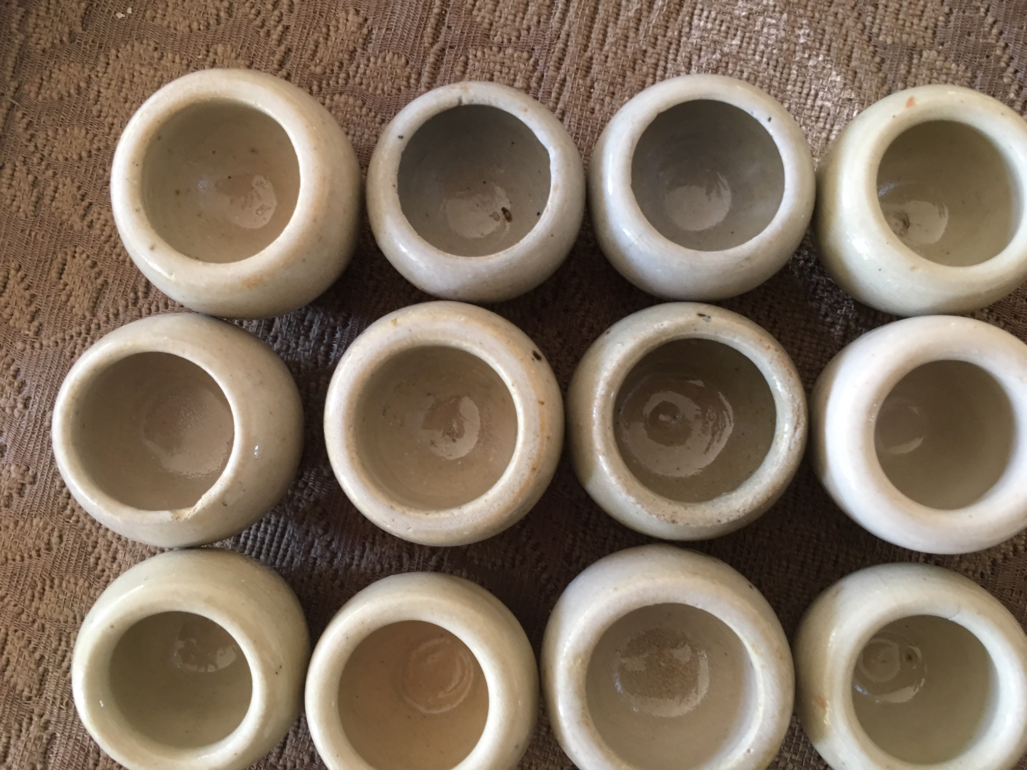French Escargot Pots, Vintage Set of 12